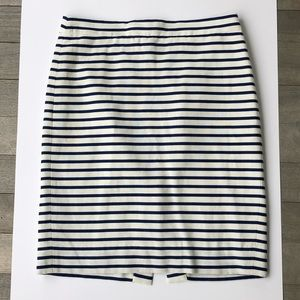 J.Crew Blue & White Striped The Pencil Skirt, 4